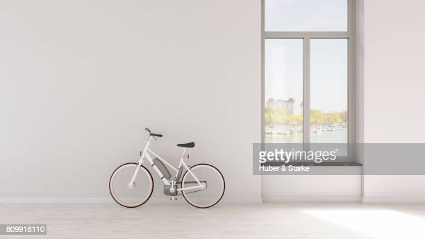 electric bicycle in loft apartment