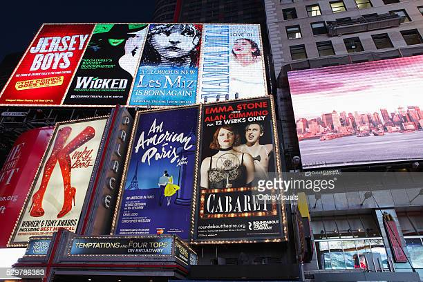 electric billboards in times square new york advertising theatre - broadway stock pictures, royalty-free photos & images