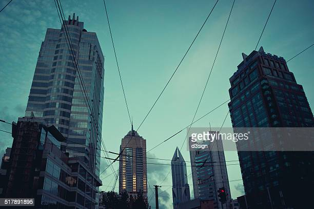 Electric cable pull through the city of Shanghai