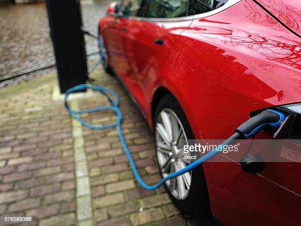 Electric car charging battery in Amsterdam, Netherlands