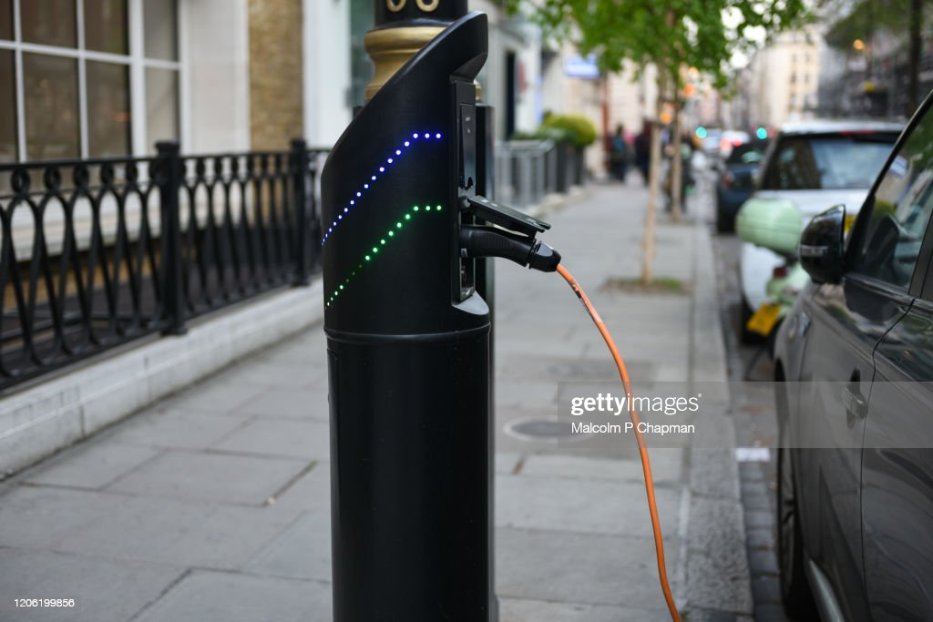 Electric car charging point, London, UK : Stock Photo
