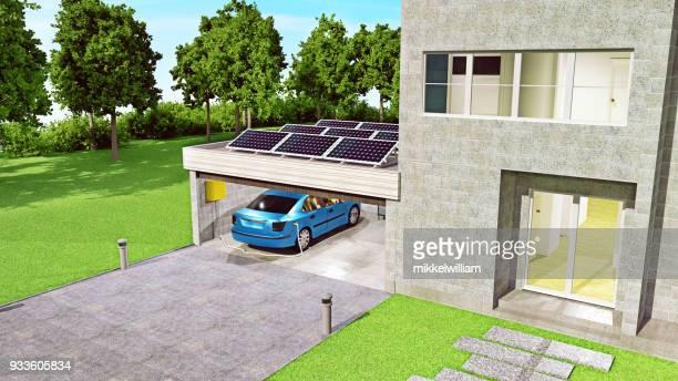 Elektroauto wird mit Solarstrom beim Parken in der Garage aufgeladen.