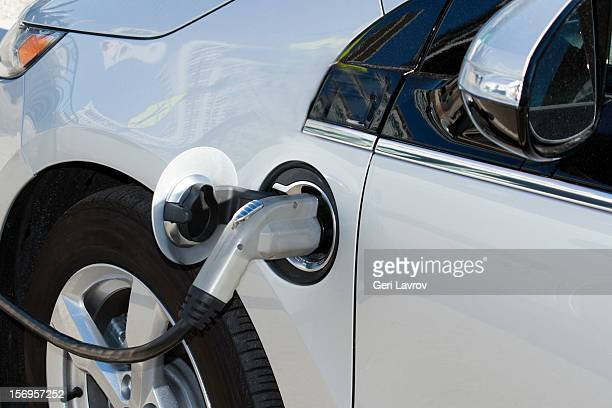 Electric car getting charged