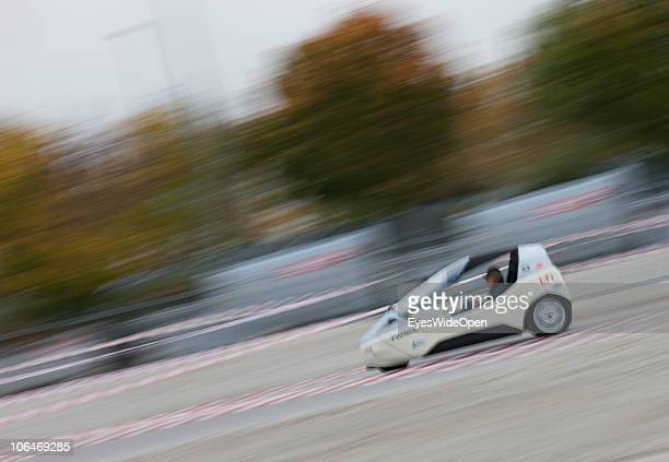 A electric car on a racetrack during the eCarTec 2010 the 2nd International trade fair for electric mobility at the New Munich Trade Fair Centre on...