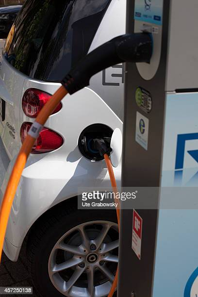 Electric car recharging at a charging station on August 21 in Bottrop Germany Photo by Ute Grabowsky/Photothek via Getty Images
