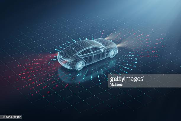 electric car sensors wireframe - futuristic car stock pictures, royalty-free photos & images