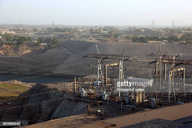 Electric company substation at the new dam at Aswan on the Nile Africa Upper Egypt