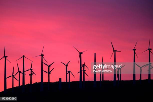 TOPSHOT Electric energy generating wind turbines are seen on a wind farm in the San Gorgonio Pass area on Earth Day April 22 near Palm Springs...
