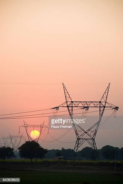 Electric energy towers near of Jaipur Rajasthan India