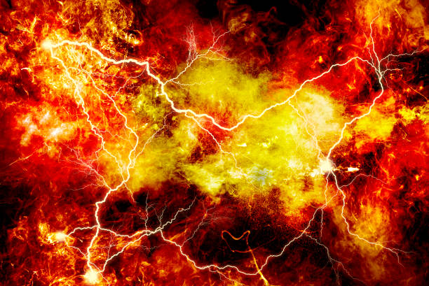 Electric explosion with fire and smoke on a black background.