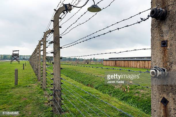 Electric fence in Auschwitz II a former Nazi extermination camp in Brzezinka Poland It was the biggest nazi concentration camp in Europe