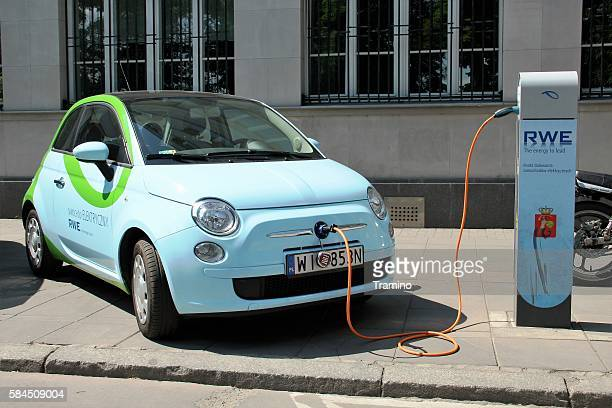 Electric Fiat 500 at the charging station