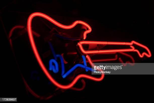 Guitare électrique en ROUGE FLUO