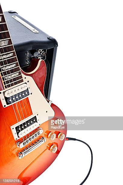 electric guitar leaning on amplifier - amplifier stock pictures, royalty-free photos & images