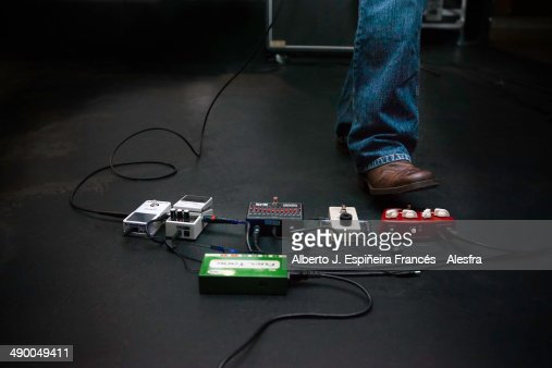 Electric Guitar Pedal And Boot Stock Photo