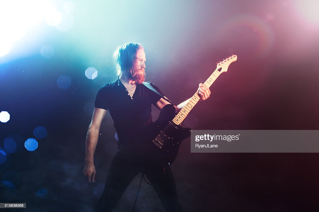 Electric Guitarist Playing Concert : Stock Photo