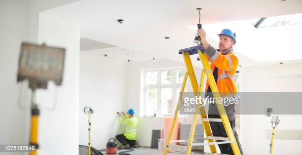 electric house rewire - building contractor stock pictures, royalty-free photos & images