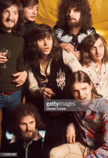 Electric Light Orchestra, ELO, studio group portrait, UK Mik Kaminski, Melvyn Gale, Bev Bevan , Jeff Lynne, Richard Tandy, Hugh McDowell, Kelly...