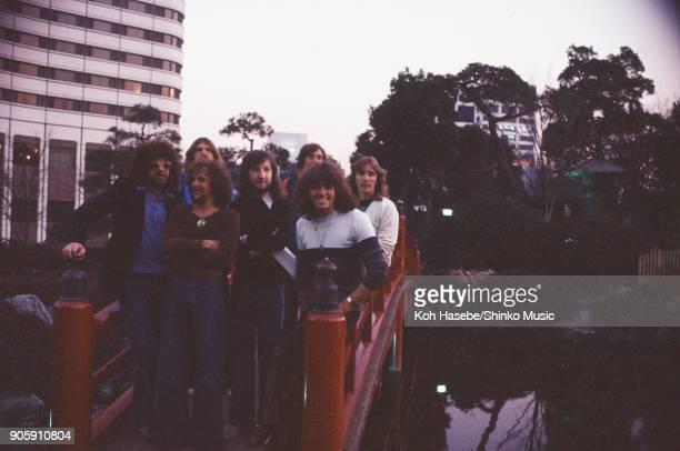 Electric Light Orchestra taken in the garden of Akasaka Prince Hotel, February 1978, Tokyo, Japan. Jeffr Lynne, Bev Bevan, Richard Tandy, Mik...