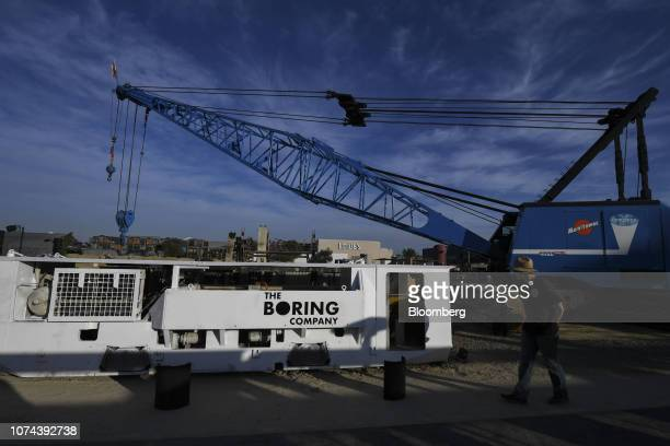 Electric locomotives and tunnel boring equipment sits prior to an unveiling event for the Boring Co. Hawthorne test tunnel in Hawthorne, California,...