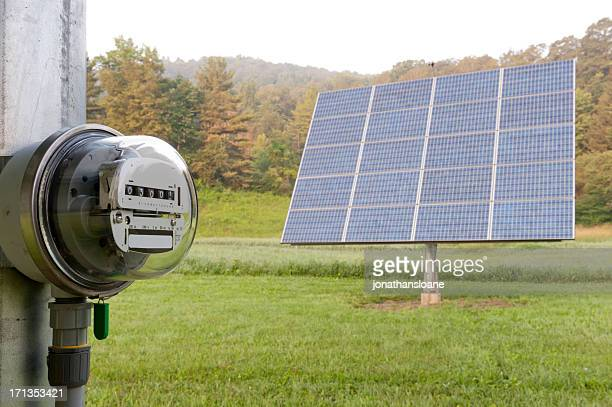 Electric meter with solar panel