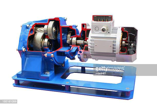 Electric motor against white background