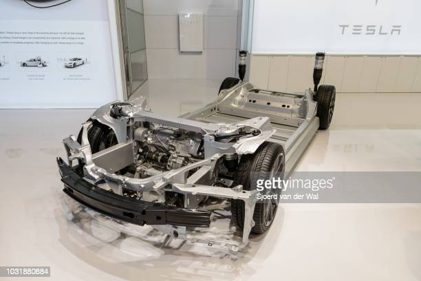 Electric motor on a Tesla Model full electric luxury car chassis demonstration model The car chassis is on display at Brussels Expo on January 9 2017...