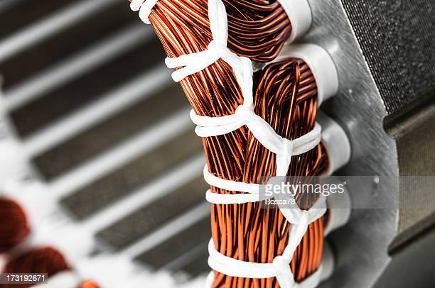 Electric motor stator winding and stack close-up