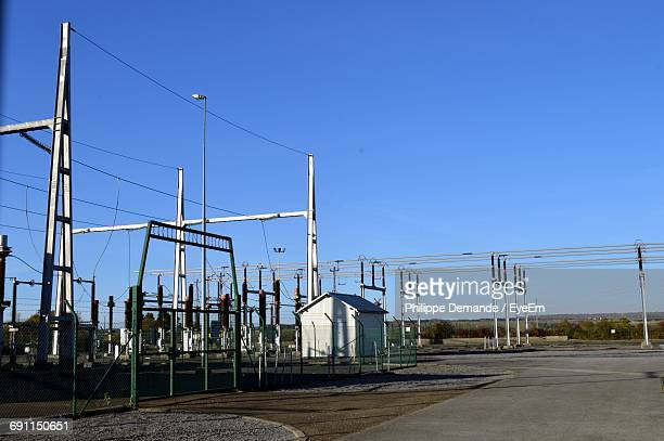 Electric Power Station Against Clear Blue Sky