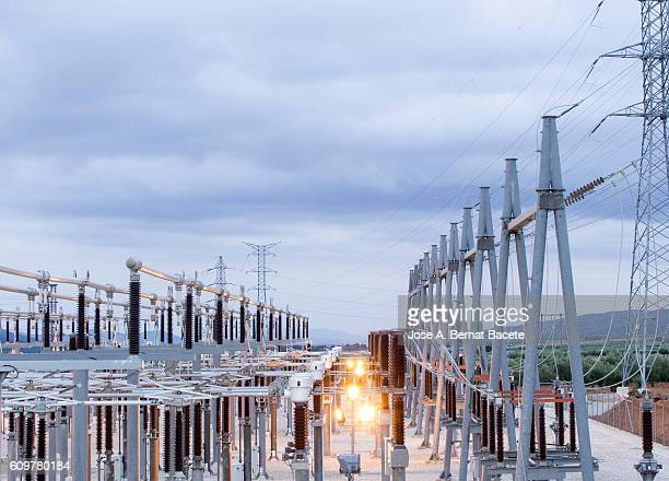 Electric power station of high tension to the dusk.