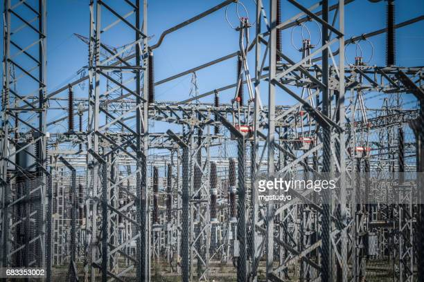 electric power substation - station stock pictures, royalty-free photos & images