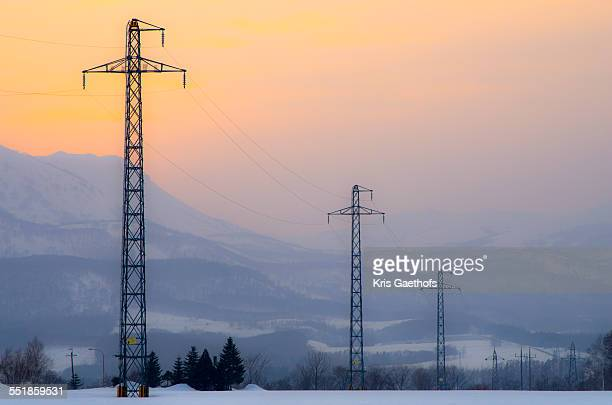 Electric power transmission lines at dusk in Japan