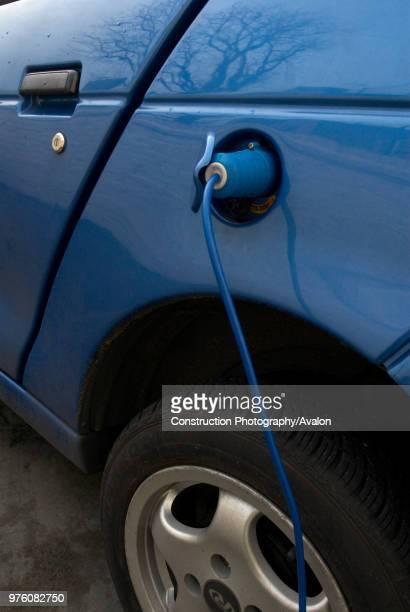 Electric powered car charging batteries England UK