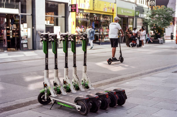 Electric scooters are waiting for riders in the Chaussee d'Ixelles on September 2, 2021 in Brussels, Belgium. According to North Carolina State...