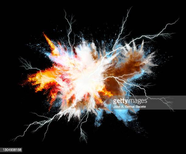 electric short circuit explosion with smoke and lightning on a black background. - lightning stock pictures, royalty-free photos & images