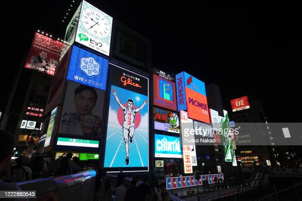 Electric signboards of Dotonbori commercial district is pictured at nighttime June 16, 2019 in Osaka, Japan.