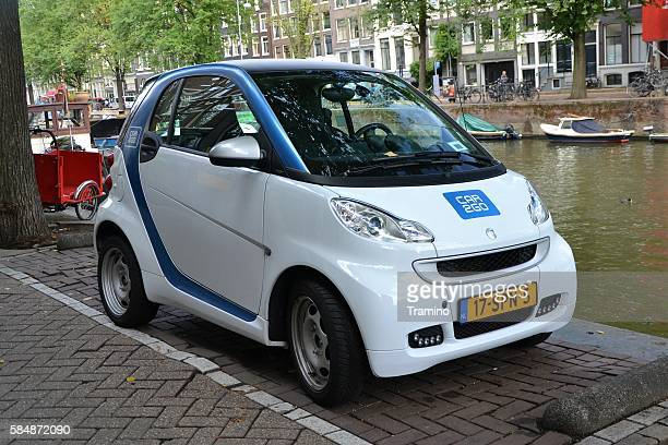 Electric Smart Fortwo on the street.