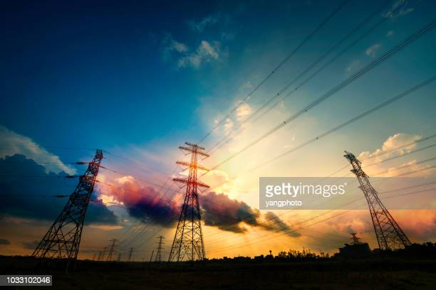 electric tower - power line stock pictures, royalty-free photos & images