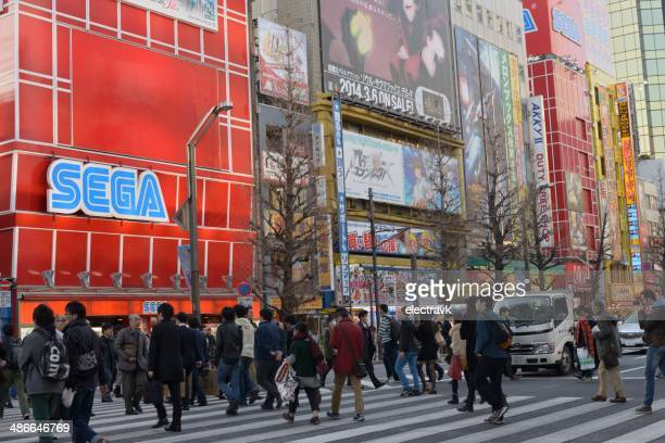 electric town - chuo dori street stock photos and pictures