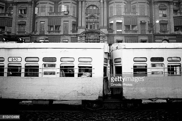 Electric tram at Chowringhee Calcutta Kolkata West Bengal India 1989