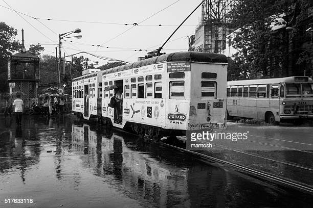 electric tram in black and white - kolkata stock pictures, royalty-free photos & images