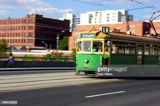 Electric tram traveling at speed