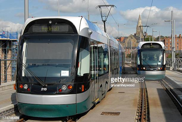 electric trams - nottingham stock photos and pictures