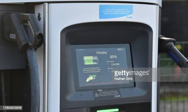 Electric vehicle charging pod point is seen on November 15, 2020 in Stoke-On-Trent, England. In a 10-point environmental plan to be announced this...