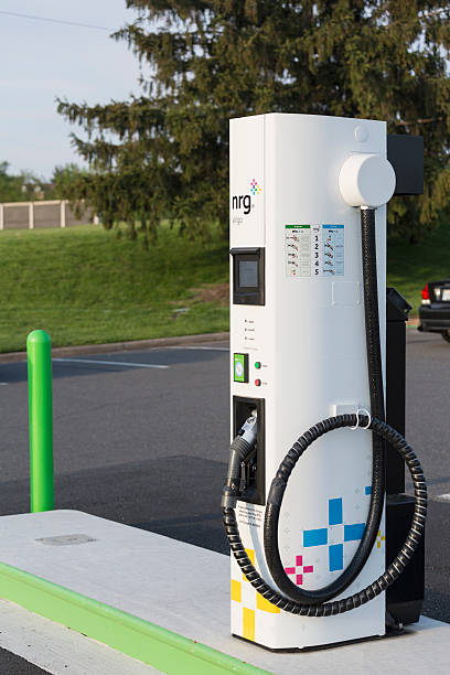 Electric vehicle charging station and parking lot in USA installed by NRG eVGO to recharge electric cars