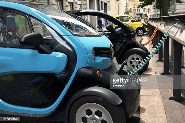Electric vehicles on the charging points