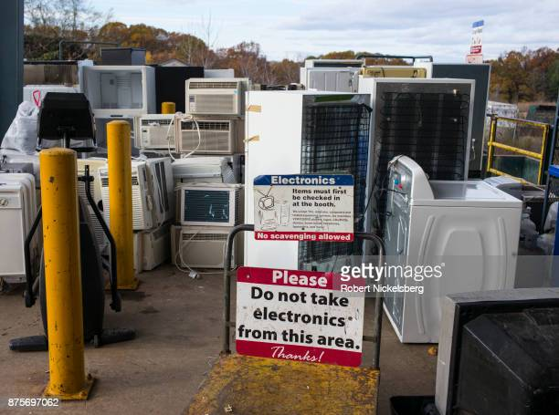 Electrical appliances wait to be processed for recycling from Chittenden Solid Waste District dropoff center in South Burlington Vermont November 7...