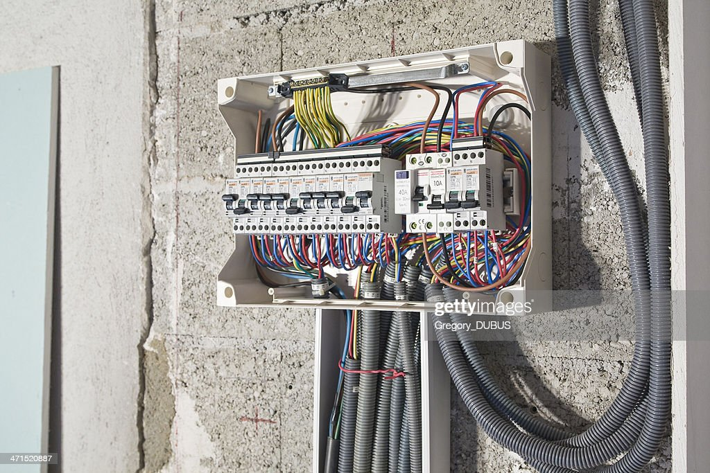 Electrical box installation side : Stock Photo