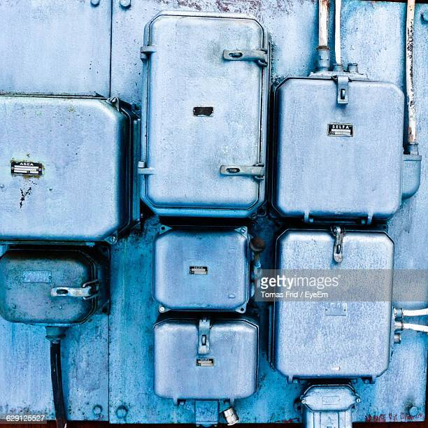 electrical boxes on wall - electrical box stock pictures, royalty-free photos & images