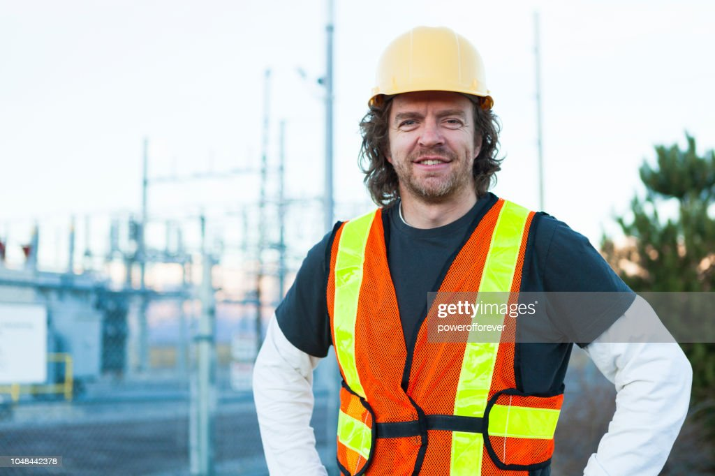 Electrical Engineer at a Power Station : Stock Photo